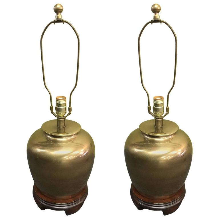 Pair Of Mid Century Brass Ginger Jar Style Table Lamps For