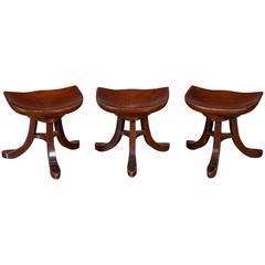 Set of Three Mahogany Tripod Stools