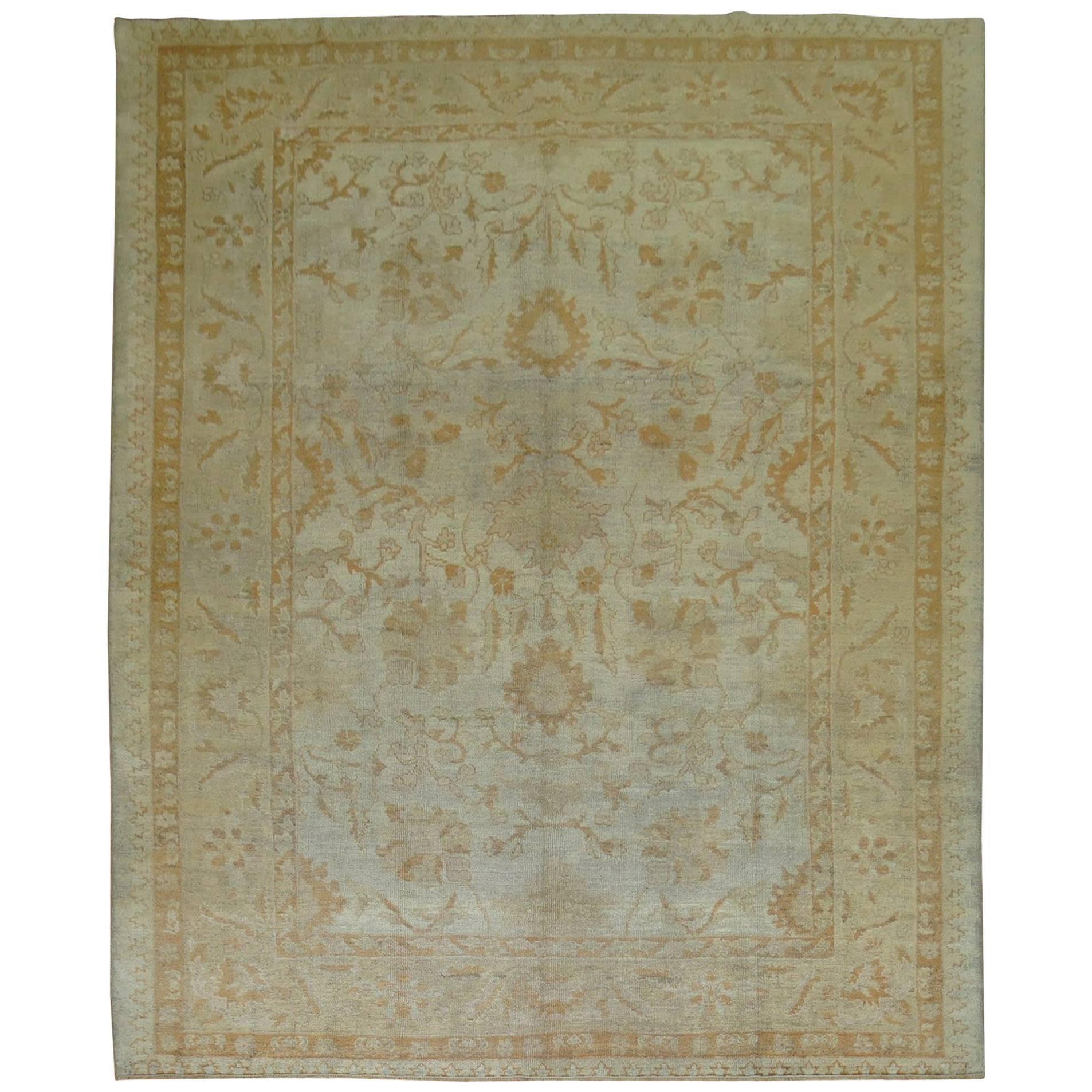 Antique Turkish Oushak Room Size Carpet