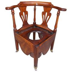 American Chippendale Maple Corner Potty Chair, Circa 1770