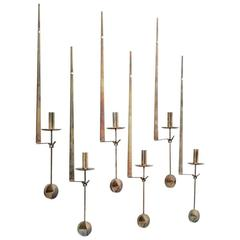 Set of 1960s Pierre Forsell Brass Candleholders, Skultuna, Sweden