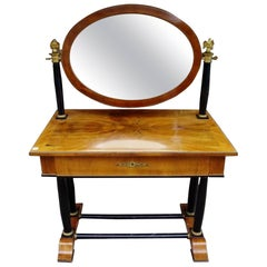 Viennese Flame Birch Veneer and Ebony Ormolu Dressing Table, Circa 1820