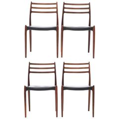 Set of Four 1960s Model 78 Rosewood Chairs by Niels O. Møller