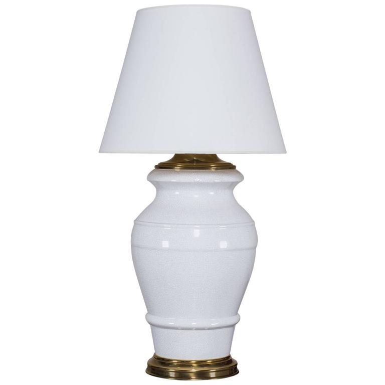 Paul Hanson Vintage Crackle Glaze Enormous Ceramic Lamp, circa 1950 For Sale