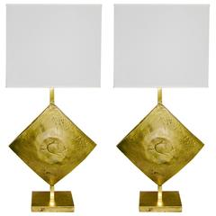 Italian Design Contemporary Pair of Brutalist Cast Bronze Double Lit Lamps