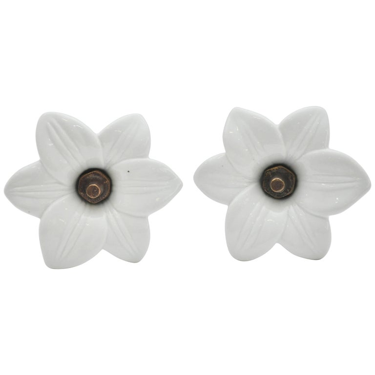 Pair of Antique White Glass Lily Tiebacks 1