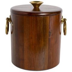 Vintage Danish Modern Ice Bucket in Teakwood and Brass