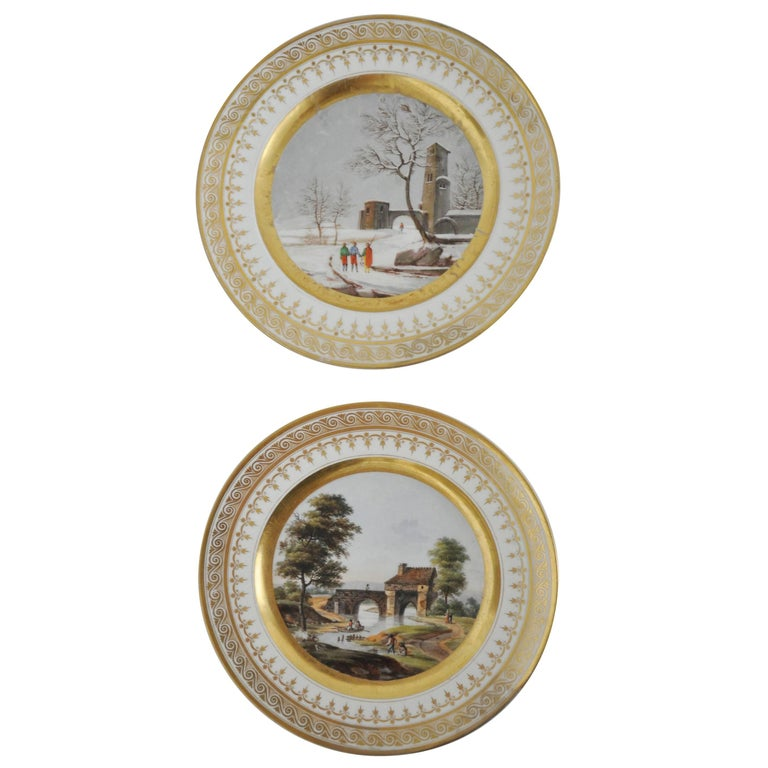 Pair of Old Paris French Plates For Sale at 1stdibs