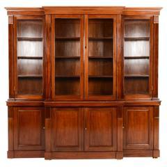 Breakfront Mahogany Bookcase, circa 1880