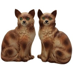 Pair of Scottish Bo'ness Cats with Glass Eyes