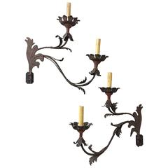 Pair of 19th Century Italian Painted Iron Electrified Sconces