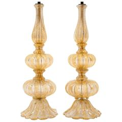 Barovier & Toso Pair of Glass Italian Murano Table Lamps