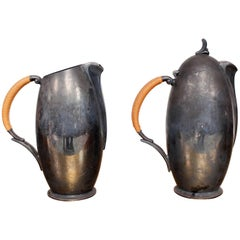 Midcentury Set of Two Silver Plate Pitchers by 1847 Rogers Bros, 1950s