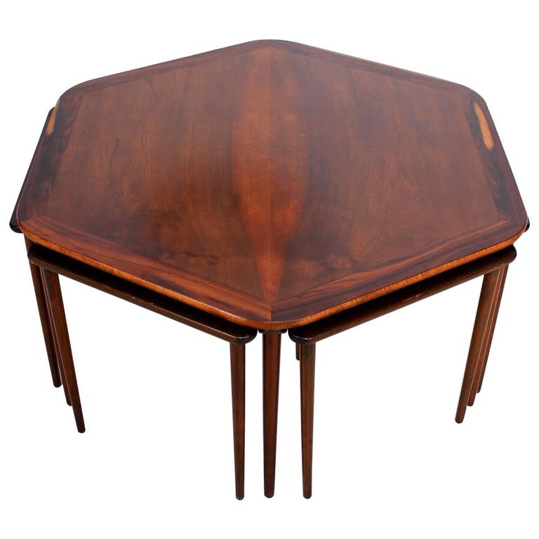 Hexagon Coffee Table and Nesting Tables Danish Mid-Century Modern in Rosewood
