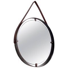 Contemporary Round Wall Mirror in Brass and Leather, Adnet Style
