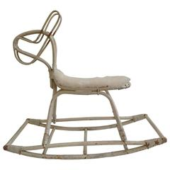 Rare Bamboo Rocking Horse by Dirk van Sliedrecht for Rohé, 1950s
