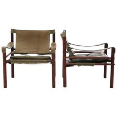 Pair of Late 1960s Arne Norell Safari Sirocco Chairs in Rosewood