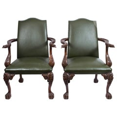 Early 20th Century Pair of Eagles Leather Library Chairs Armchairs