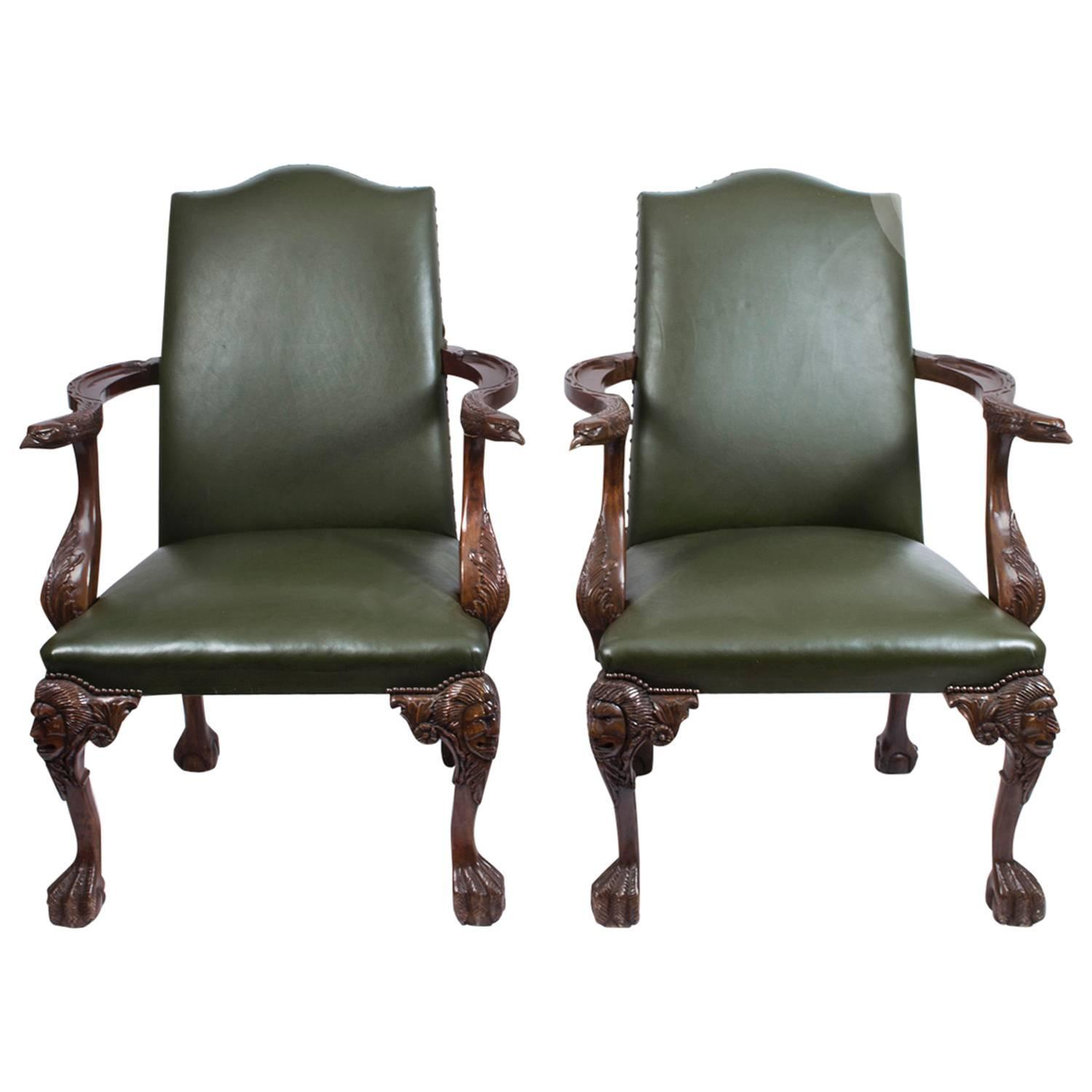 Rare set of twelve victorian solid oak leather antique chairs empire - Antique Pair Of Eagles Leather Library Chairs Armchairs C1920 For Sale At 1stdibs