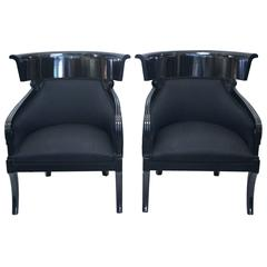 Pair of Neoclassical Armchairs, Black Lacquered Wood, circa 1970, Austria