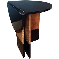 1930s Modernist Drop-Leaf Table or Console, Black Ebonized and Burr Veneers, UK
