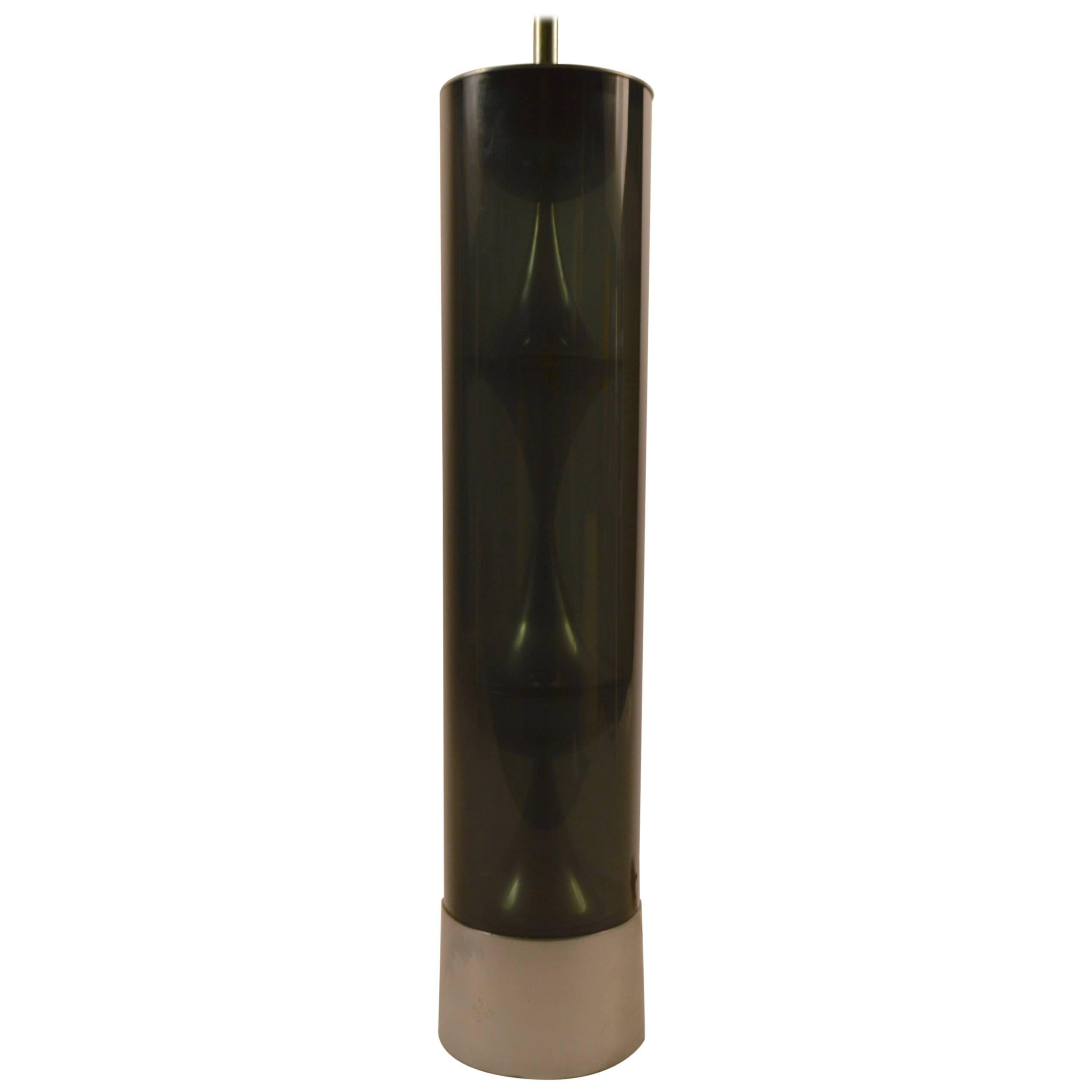 Mod Cylindrical  Smoked Lucite Table Lamp by Mutual Sunset Lamp Co