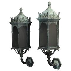 English Pair of Gothic Bronze Antique Wall Lanterns