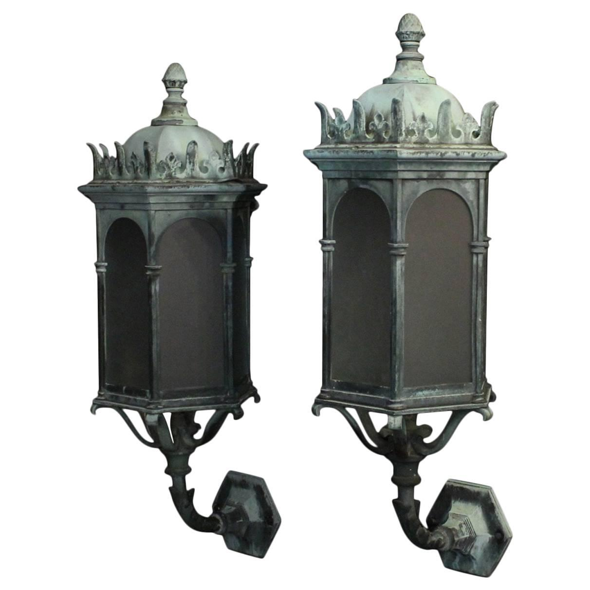 English pair of gothic bronze antique wall lanterns at 1stdibs arubaitofo Gallery