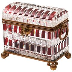 Large Maison Siraudin Red Overlay Glass Casket, France, circa 1890