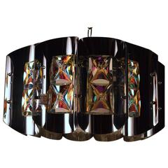Bright Chrome and Faceted Iridized Glass Chandelier