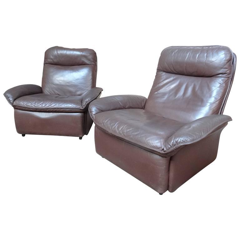 Unusual Set of 1970 Vintage De Sede 'Switzerland' Leather Lounge Chairs