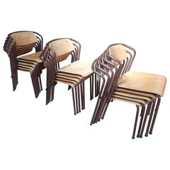 Super Unusual Set of 16, Stylish Retro 1960s Dining Chairs