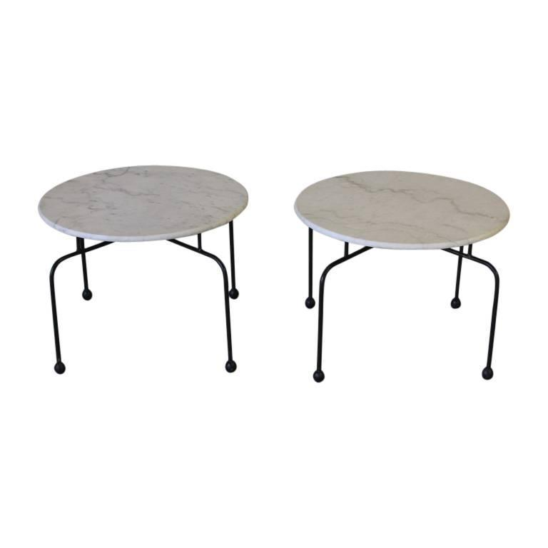 Pair of French Marble Side Tables, 1950s