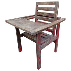 Stunning Arts & Crafts Wooden Child Seat with Flip over Table Shop Display