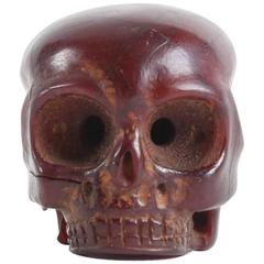Rare and Decorative 18th or 19th Century Japanese Amber Skull
