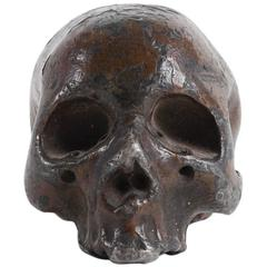 Rare and Decorative Memento Mori Lead Skull, 18th Century