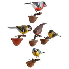 Cute Set of Five Vichtauer Carved Wood Bird Models, Black Forest