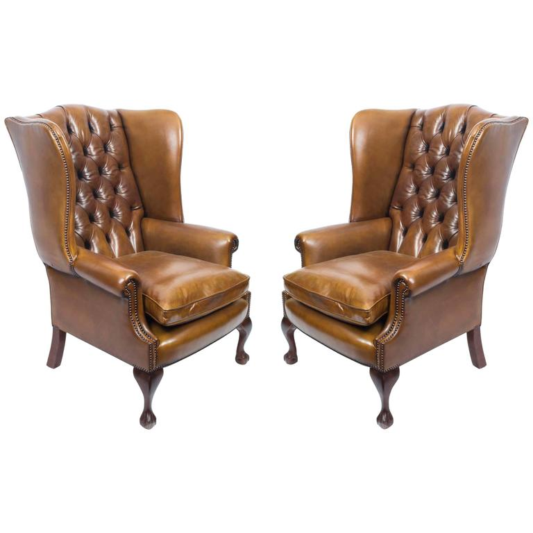 Pair of Leather Chippendale Wing Chairs Armchairs Cognac