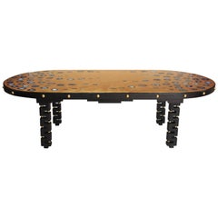 Large blackened oak table with gilt tray inlaid of agates