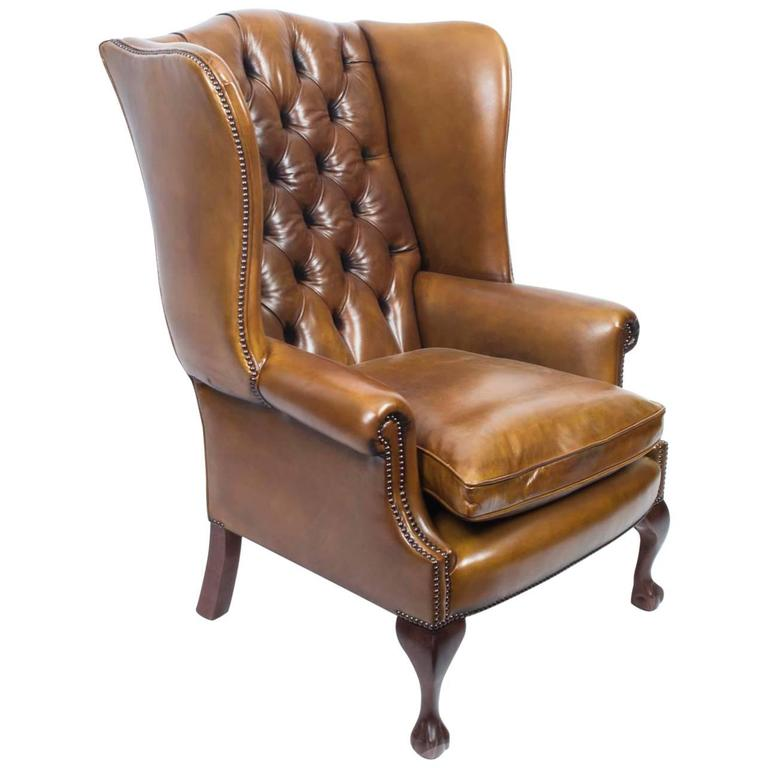 Leather Chippendale Wing Chair Armchair Cognac