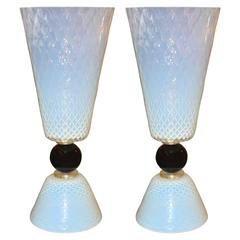 Murano Glass Vase Lamp Set of Two Exceptional Pieces Hand Worked, 1950