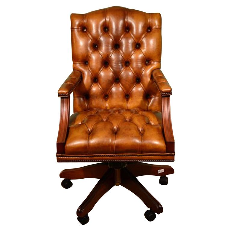 English Handmade Gainsborough Leather Desk Chair Cognac For Sale