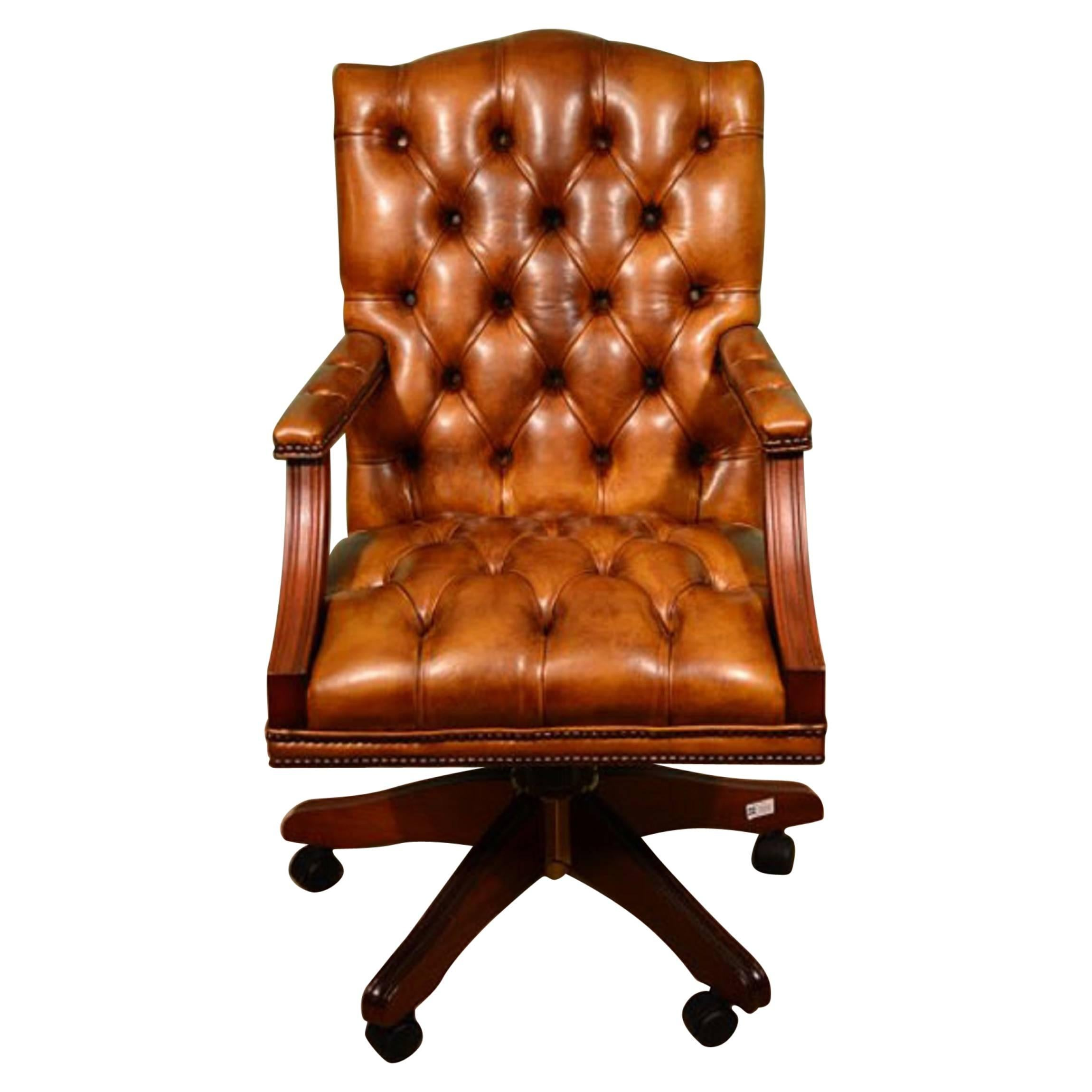 Superieur Bespoke English Handmade Gainsborough Leather Desk Chair Tan