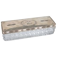Antique 1890 Crystal Box with Sterling Silver Top/Gadroon Border