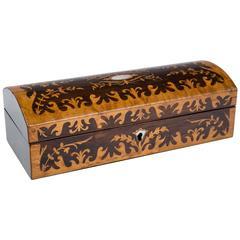 English 1850 Scalloped Satinwood Jewelry/Glove Box