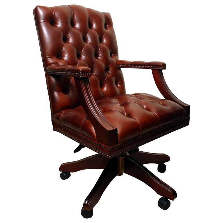English Handmade Gainsborough Leather Desk Chair