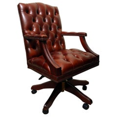 Bespoke English Handmade Gainsborough Leather Desk Chair Chestnut