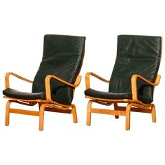 Yngve Ekström for Swedese, Set of Two 'Contino' Leather Lounge Chairs, 1980s