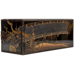 Edo Balck and Gold Japanese Lacquered Cabinet