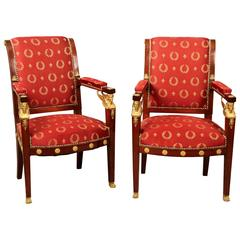 Fine Pair of Early 20th Century Gilt Bronze-Mounted Empire Style Armchairs